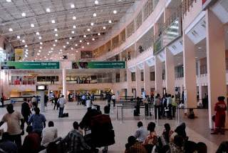 Packed at the international terminal of Lagos MMA2 airport